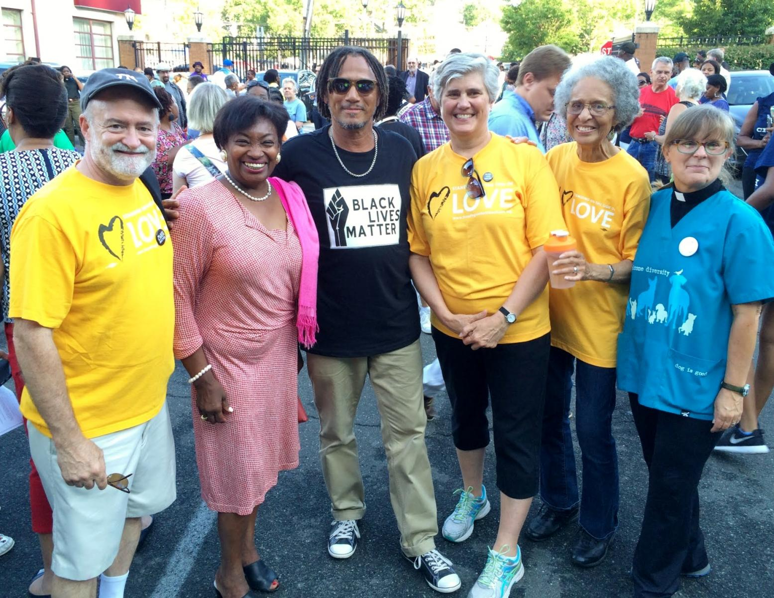 Members of CUUC with Senator Andrea Stewart-Cousins at Justice March in White Plains, NY July 14, 2016